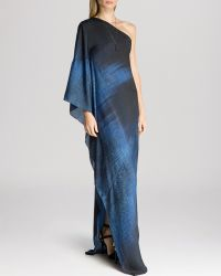 Halston Heritage Gown - One Shoulder Asymmetric Print - Lyst