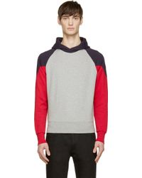 Moncler Indigo And Red Colorblocked Hoodie - Lyst