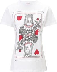 Olympia Le-Tan White Cotton Queen Print Tshirt - Lyst