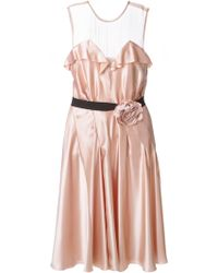 Lanvin Sheer Panel Dress - Lyst