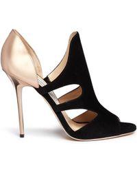 Jimmy Choo 'Toysen' Mirror Leather Suede Cutout Sandals - Lyst