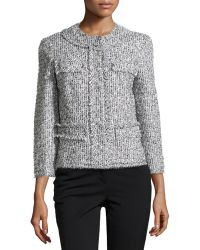 Michael Kors Tweed Collarless 34-sleeve Jacket - Lyst