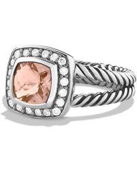David Yurman - Petite Albion Ring With Morganite & Diamonds - Lyst