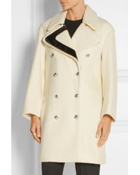 Bouchra Jarrar - Faux Patent Leather-trimmed Wool Coat - Lyst