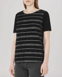 Reiss Top - Celia Shimmer Stripe black - Lyst