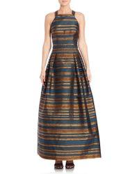 Kay Unger | Striped Halter Gown | Lyst