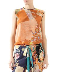 Gucci Patchwork Print Silk Piping Top - Lyst