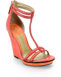 B Brian Atwood Pinkston Snakeskin  Suede Wedge Sandals - Lyst