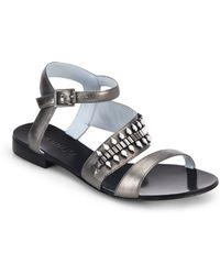 DANNIJO Riles Crystal-Studded Metallic Leather Sandals - Lyst