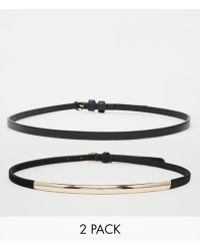 Asos 2 Pack Plate And Skinny Waist Belt - Lyst