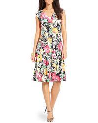 Ralph Lauren Lauren Petites Floral Print Jersey Dress - Lyst