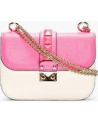 Valentino Fuchsia and Ivory Studded Lock Shoulder Bag - Lyst