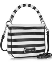 Marc By Marc Jacobs - Too Hot To Handle Hoctor Black and White Stripe Leather Crossbody Bag - Lyst