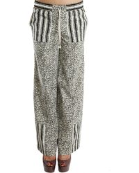 Suno Wide Leg Striped Panel Pants gray - Lyst