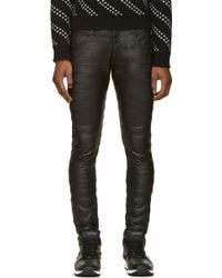 Undercover Black Accent Seams Leather Trousers - Lyst