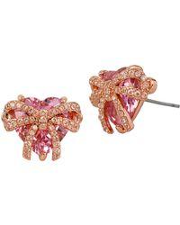 Betsey Johnson Cubic Zirconia Cluster Stud Earrings - Pink