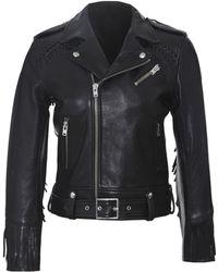 IRO Zerignola Fringe Moto Jacket black - Lyst