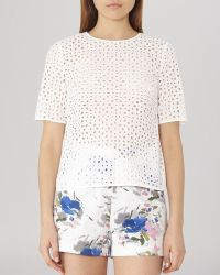 Reiss Top - Marti Sheer Perforated white - Lyst