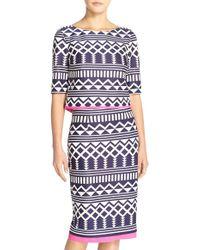 Eliza J | Print Scuba Two-piece Dress | Lyst