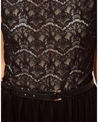 Mango - Lace Belted Jersey Maxi Dress - Lyst