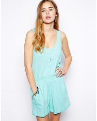 Brave Soul Ruched Button Detail Playsuit - Lyst