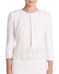 St. John Multi-Stitch Fringed Knit Jacket white - Lyst