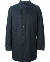 Woolrich Blue Trench Coat - Lyst