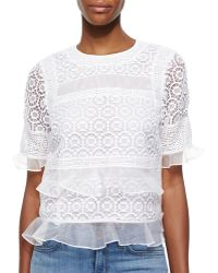 Rebecca Taylor Sheer/Lace Tiered Top - Lyst
