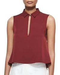 Theory Kenzly Slit-Front Sleeveless Blouse - Lyst