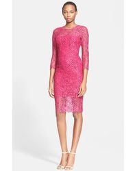 Lela Rose Three Quarter Sleeve Corded Lace Sheath Dress - Lyst