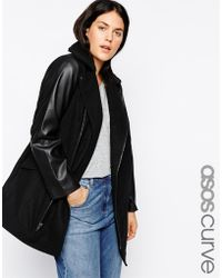 Asos Curve Exclusive Coat With Leather Look Sleeves - Lyst