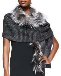 Jimmy Choo Knit Scarf with Fox Fur Trim - Lyst