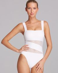 DKNY Solid Mesh Splice Maillot One Piece Swimsuit - Lyst