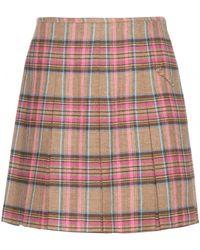 Shrimps - Scotty Check Wool And Linen-blend Skirt - Lyst