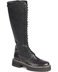 Ann Demeulemeester Leather Knee-High Combat Boots - Lyst