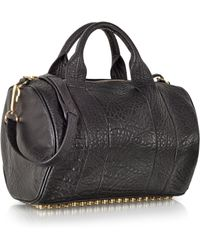 Alexander Wang Rocco Black Pebble Leather Satchel W/Antique Brass Studs - Lyst
