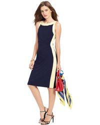 Lauren by Ralph Lauren Colorblocked Sleeveless Dress - Lyst
