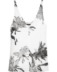 Tibi Sierra Floral-Print Silk-Crepe Top - Lyst