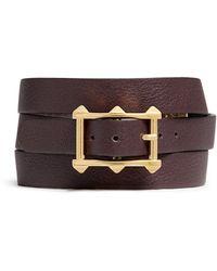 Valentino 'V' Charm Leather Wrap Bracelet purple - Lyst