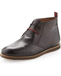 Ben Sherman Leather Short Boot Black - Lyst