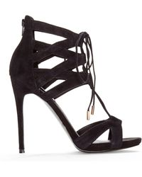 Steve Madden Black Maiden Lace-up Sandals - Lyst