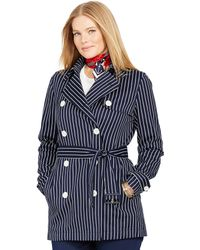 Ralph Lauren Striped Double-Breasted Coat - Lyst