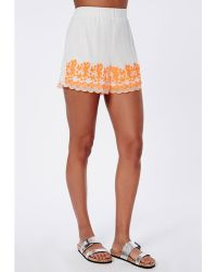 Missguided Felicity Neon Embroidered Chiffon Shorts - Lyst