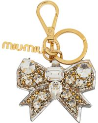 Miu Miu Crystalembellished Leather Bow Key Fob - Lyst