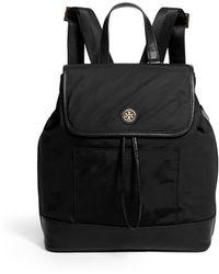 Tory Burch Leather Trim Nylon Backpack - Lyst