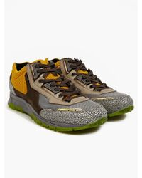 Lanvin Mens Embossed Leather and Mesh Running Sneakers - Lyst