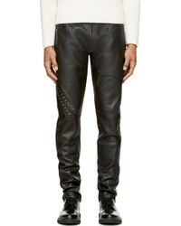 McQ by Alexander McQueen Black Leather Frankenstein Trousers - Lyst