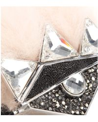 Fendi Crystal And Fox-Fur Embellished Double-Finger Ring - Lyst