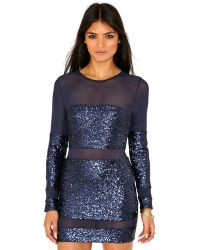 Missguided Fancisca Sequin Mesh Panel Mini Dress in Navy - Lyst