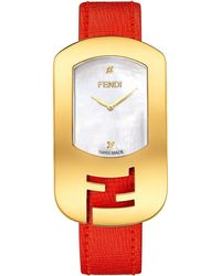 Fendi Chameleon Goldtone Stainless Steel, Mother-Of-Pearl & Leather Large Signature Strap Watch/Red - Lyst